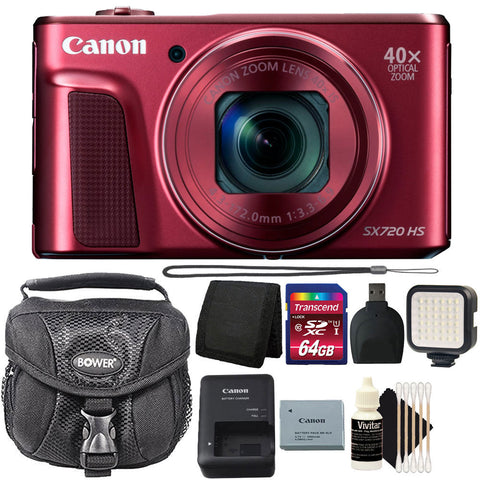 Canon PowerShot SX720 HS Digital Camera Red with Accessory Kit