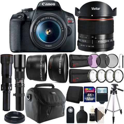 Canon Rebel T7 24.1MP Digital SLR Camera with EF-S 18-55 IS Lens + 500mm 650-1300 and 8mm 4 Lens Bundle + Complete Accessory Kit