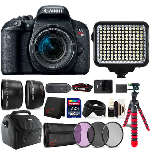 Canon EOS Rebel T7i DSLR Camera with 18-55mm Lens , 120 LED Light and more Camera Accessories