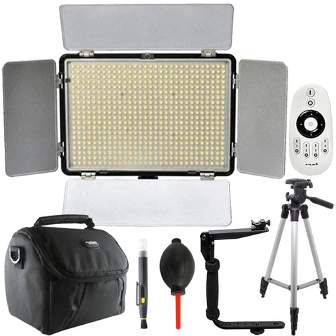 Professional Vivitar 600 LED 2200 Lumens Video Light with Accessory Bundle