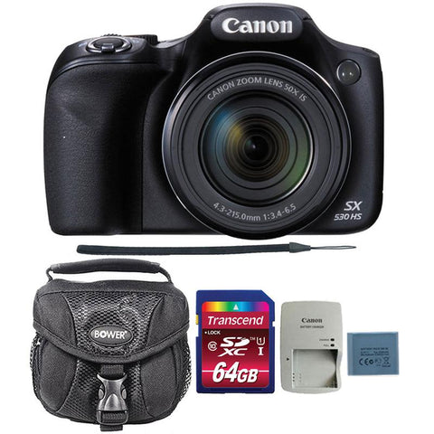 Canon PowerShot SX530 HS 16MP Digital Camera with 64GB Memory Card and Camera Case