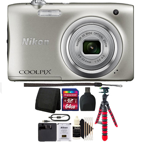 Nikon Coolpix A100 20.1MP Compact Digital Camera Silver with 64GB Accessory Kit
