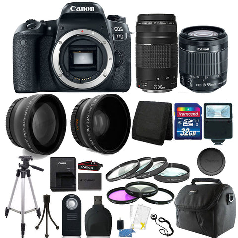 Canon EOS 77D 24.2MP DSLR Camera with 18-55mm IS STM Lens , 75-300mm Lens and Accessory Bundle