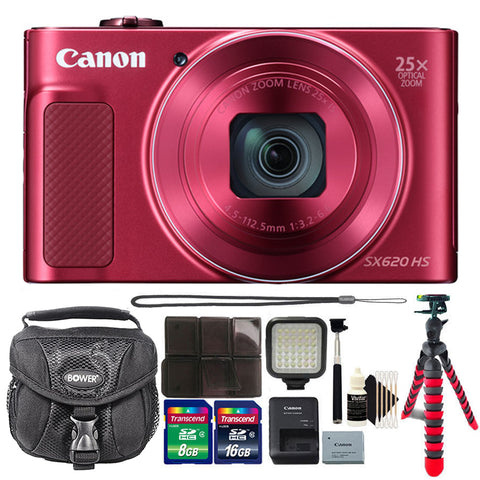 Canon PowerShot SX620 HS 20.2MP Digital Camera Red with LED Video Light and Accessory Kit