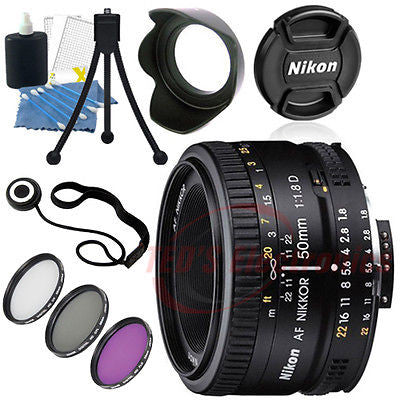 Nikon 50mm f/1.8D Lens for Nikon DSLR Cameras Includes Lens Caps and More