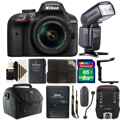 Nikon D3400 DSLR Camera with 18-55mm Lens, Speedlight Flash and Top Value Kit