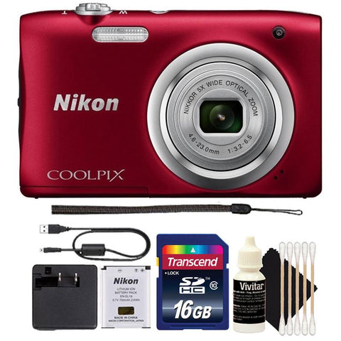 Nikon Coolpix A100 20.1MP Compact Digital Camera Red with 16GB Accessory Bunde