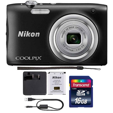 Nikon Coolpix A100 20.1MP Compact Digital Camera Black with Accessory Kit