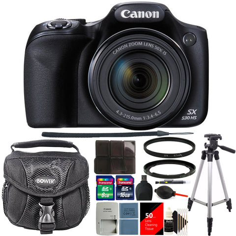 Canon PowerShot SX530 HS 16MP Digital Camera Black with 24GB Accessory Kit