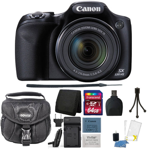 Canon PowerShot SX530 HS 16MP Digital Camera Black with Accessory Kit