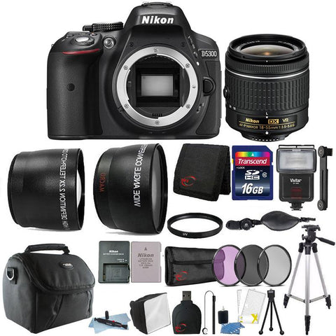 Nikon D5300 24.2MP DSLR Camera with 18-55mm Lens and 16GB Accessory Kit