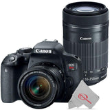 Canon EOS Rebel T7i 24.2MP Digital SLR Camera with 18-55mm and Canon 55-250 IS II Lens