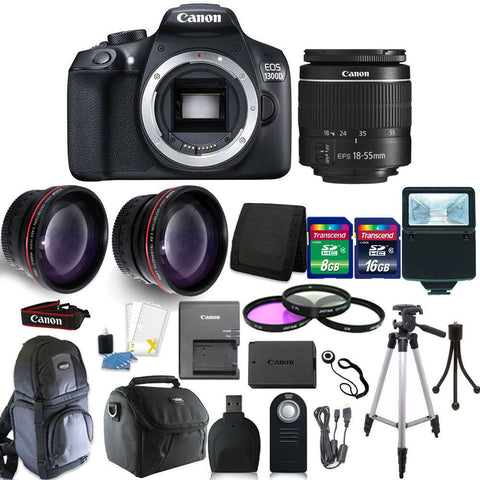 Canon EOS Rebel 1300D/T6 18MP DSLR Camera + 18-55mm  Lens + 24GB Top Bundle