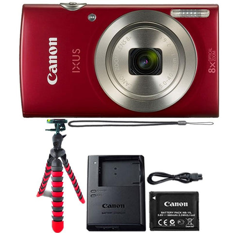 Canon IXUS 185 / ELPH 180 20MP Digital Camera Red with Accessories