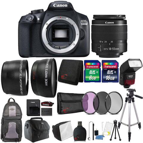 Canon EOS 1300D / T6 DSLR Camera with 18-55mm III Lens , TTL Speedlite Flash and Ultimate Accessory Bundle