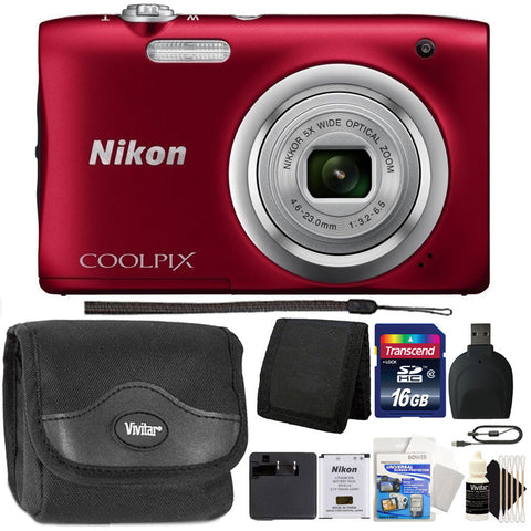 Nikon Coolpix A100 20.1MP Compact Digital Camera Red with 16GB Bundle