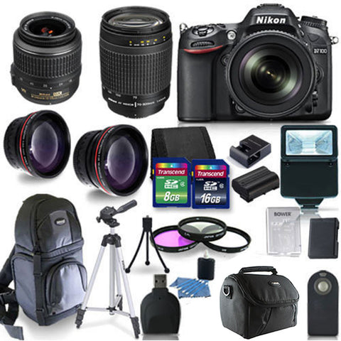 Nikon D7100 24.1 MP DX-Format CMOS DSLR Camera with 18-55mm Lens , 70-300mm lens and 16 Piece Accessory Kit
