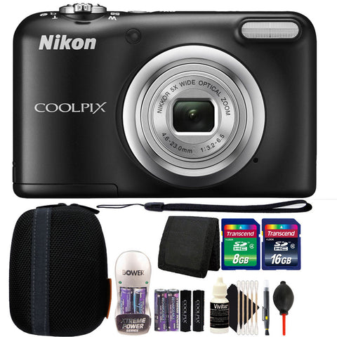 Nikon COOLPIX A10 16.1 MP Compact Digital Camera (Black) with 24GB Bundle