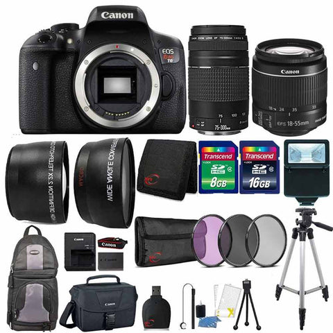 Canon EOS Rebel T6 18MP DSLR Camera with 18-55mm Lens , 75-300mm Lens , Canon 100ES Case and 24GB Ultimate Accessory Kit