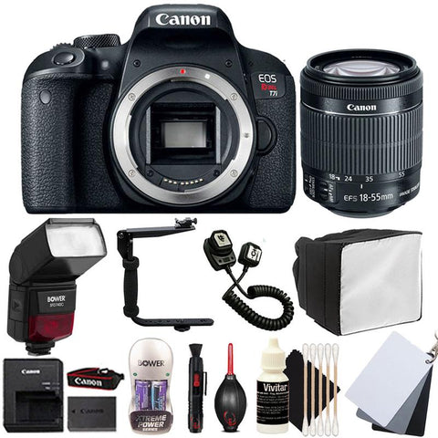Canon EOS Rebel T7i 24 2MP Digital SLR Camera with 18-55mm Lens , TTL Flash  and Accessory Bundle