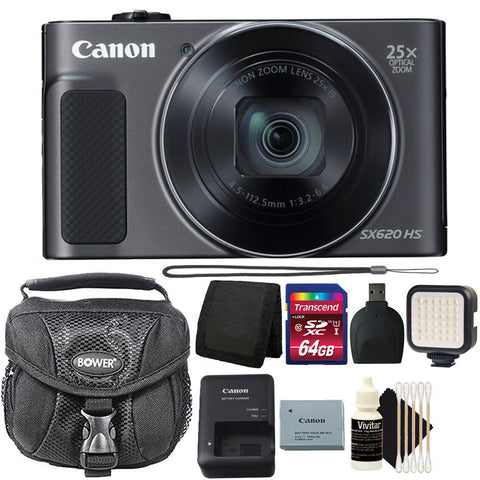 Canon PowerShot SX620 HS 20.2MP Digital Camera Black with LED Video Light and Accessory Kit