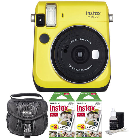 Fujifilm Instax Mini 70 Instant Film Camera Yellow with Accessory Kit