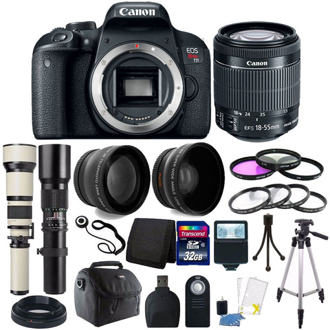 Canon EOS Rebel T7i 24.2MP DSLR Camera with 18-55mm IS STM Lens , 500mm Lens , 650-1300mm Zoom Lens and Accessory Bundle