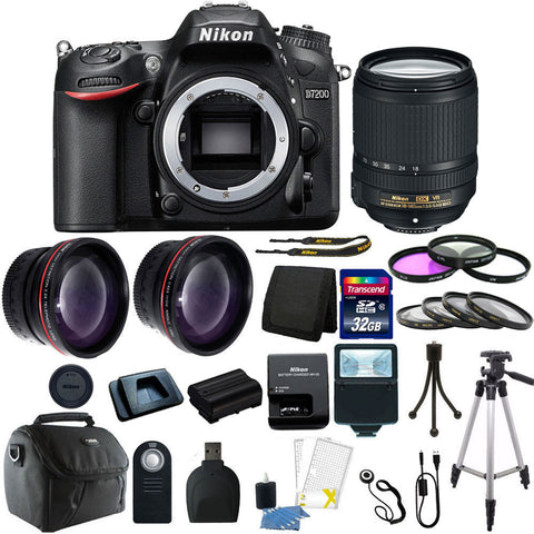 Nikon D7200 DSLR Camera with 18-140mm Lens and Deluxe Accessory Kit