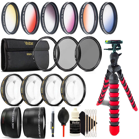 52mm Color Filter Kit with Accessory Bundle for Nikon D3300 , D3400 , D5300 and D5500