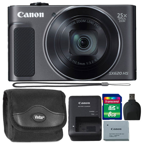 Canon PowerShot SX620 HS 20.2MP Digital Camera Black with Accessory Bundle