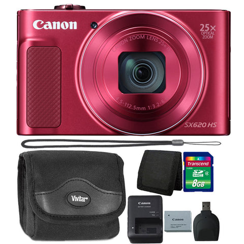 Canon PowerShot SX620 HS 20.2MP Digital Camera Red with Accessory Kit