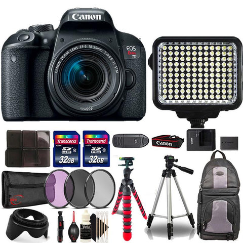 Canon EOS Rebel T7i 24.2MP DSLR Camera with 18-55mm Lens , 120 LED Light and Accessories