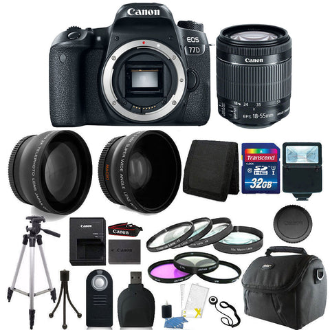 Canon EOS 77D 24.2MP DSLR Camera with 18-55mm IS STM Lens and 32GB Accessory Bundle
