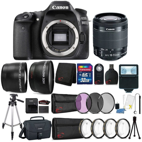 Canon EOS 80D 24.2MP DSLR Camera with 18-55mm Lens , Canon 100ES Case and 32GB Ultimate Accessory Kit