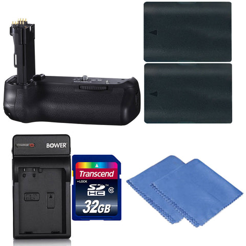 Vivitar Deluxe Power Grip For Canon 70D and 80D D-SLR Camera + 32GB Memory Card + 2 Batteries + Cloth