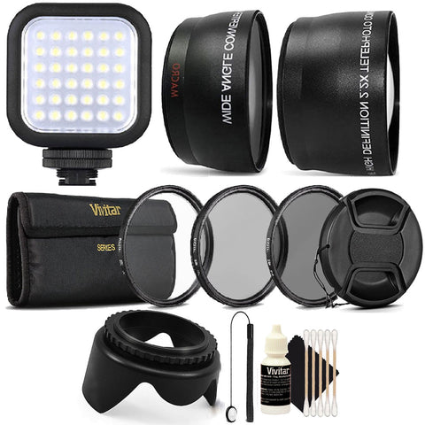 LED Light with Accessory Bundle for Nikon D3300 , D3400 , D5300 and D5500