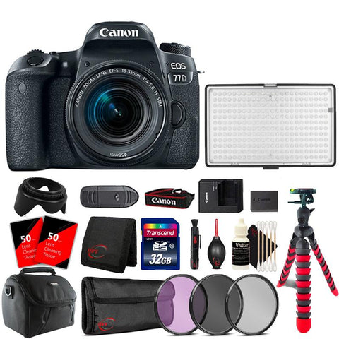 Canon EOS 77D 24.2MP DSLR Camera with 18-55mm Lens , 288 LED Video Light and Accessory Bundle