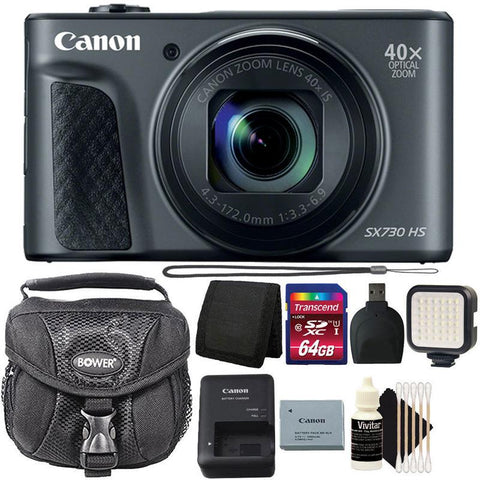 Canon Powershot SX730 HS Digital Camera (Black) with 64GB Accessory Bundle