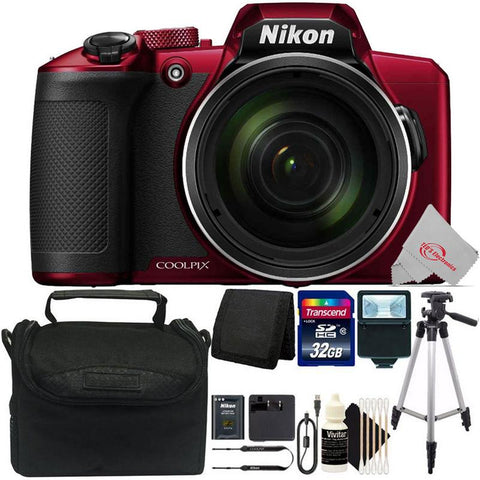 NIKON COOLPIX B600 16MP 60x Optical Zoom  Full HD Video Recording Digital Camera (Red) + Top Accessory Kit