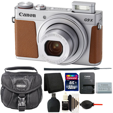 Canon Powershot G9 X Mark II Digital Camera Silver with Built in WiFi, Bluetooth with 3 inch LCD and Accessory Kit