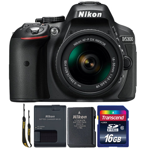 Nikon D5300 24.2MP Digital SLR Camera with 18-55mm Lens and 16GB Memory Card