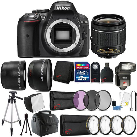 Nikon D5300 24.2MP DSLR Camera with 18-55mm Lens , TTL Flash and 32GB Accessory Kit