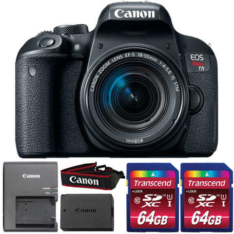 Canon EOS Rebel T7i DSLR Camera with 18-55mm IS STM Lens and Two 64GB Memory Cards