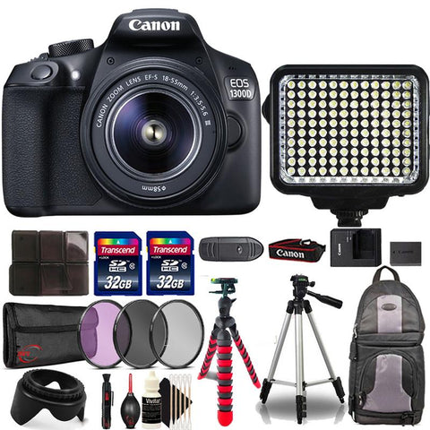 Canon EOS 1300D / Rebel T6 18MP DSLR Camera with 18-55mm Lens , 120 LED Video Light and More Camera Accessories