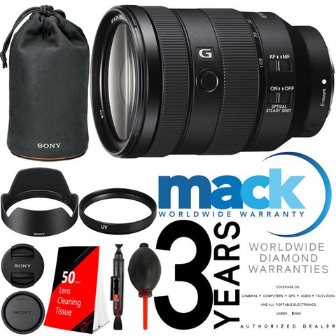 Sony FE 24-105mm f/4 G OSS Standard Zoom Lens SEL24105G with 77mm UV Filter with Accessory Kit