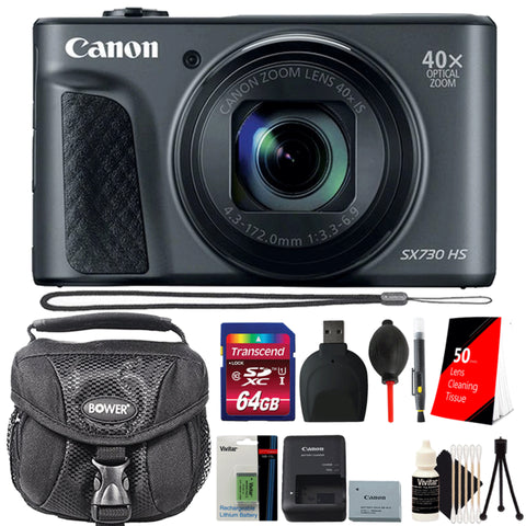 Canon PowerShot SX730 HS 20.3MP Digital Camera Black with 64GB Memory Card, Extra Battery and More Essential Accessories