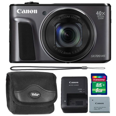 Canon PowerShot SX720 20.3MP Digital Camera Black with 8GB Memory Card and Camera Case