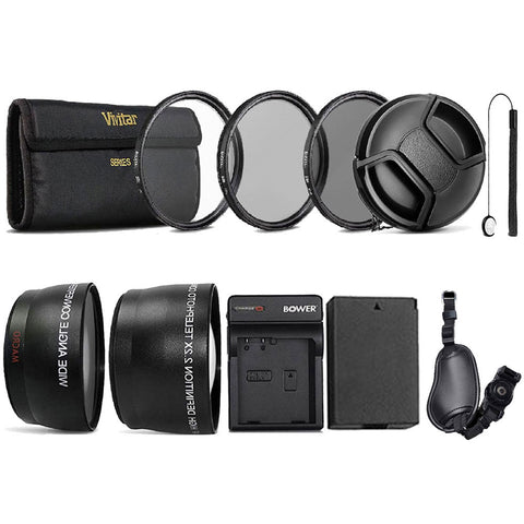 58mm Accessory Kit with LP-E8 Replacement Battery and Charger for Canon DSLR Cameras