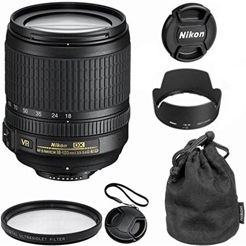 Nikon 18-105mm f/3.5-5.6 AF-S DX VR ED Nikkor Lens (White Box) for D3200, D33...