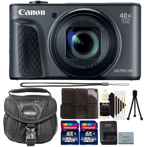 Canon Powershot SX730 HS 20.3MP Digital Camera (Black) with 64GB Ultimate Accessory Bundle